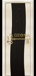 Межкомнатная дверь Геона Бриз, белое серебро, стекло триплекс с гравировкой и стразами