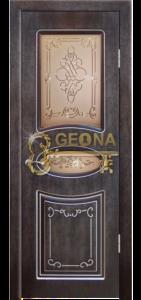 Венге тёмный 26 с серебреной патиной, стекло тонированное витраж