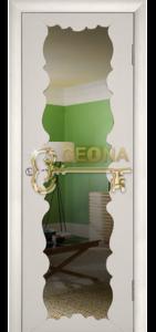 Межкомнатная дверь Геона Милана, крем, стекло триплекс с зеркалом