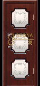 Махагон патина коричневая 3D фрезеровка, стекло наливной витраж