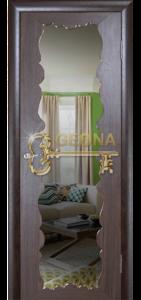 Межкомнатная дверь Геона Милана, орех каналетто, стекло триплекс с зеркалом