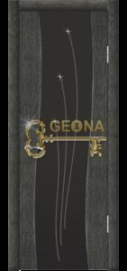 Межкомнатная дверь Геона Бриз, чёрное серебро, стекло триплекс с гравировкой и стразами