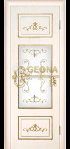 Ясень белый золото патина золото 3D фрезеровка, стекло, краска