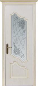 Межкомнатная дверь Геона Джулия, ясень патина золото, стекло сатинат гравировка
