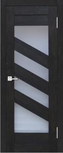 Межкомнатная дверь Геона L-14, тиковое дерево 8009, стекло сатинат светлый