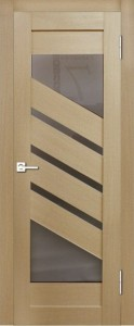 Межкомнатная дверь Геона L-15, лён светлый 707, стекло сатинат бронзовый