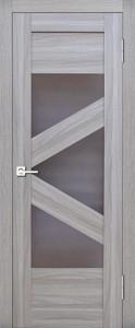 Межкомнатная дверь Геона L-16, орех натуральный распил светлый, стекло сатинат бронзовый
