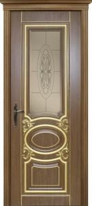 Межкомнатная дверь Оливия 2, 3D фрезеровка патина золото каштан, стекло сатинат с фацетом и гравировкой