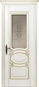 Межкомнатная дверь Оливия 2, 3D фрезеровка патина золото крем, стекло сатинат с фацетом и гравировкой