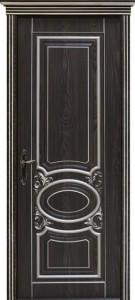 Межкомнатная дверь Оливия 2, 3D фрезеровка патина серебро, орех каналетто