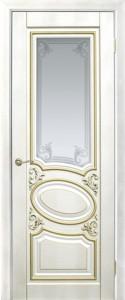 Оливия 1, 3D фрезеровка патина золото, лакоста белая, стекло сатинат гравировка