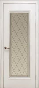 Межкомнатная дверь Геона Лучия, эмаль белый матовый, патина серебро, стекло сатинат фацет