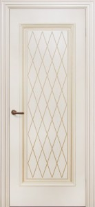 Межкомнатная дверь Геона Лучия, эмаль крем, патина золото