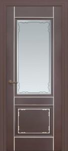 Межкомнатная дверь Геона Мадрид, эмаль коричневый, патина серебро, стекло сатинат гравировка фацет