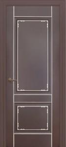 Межкомнатная дверь Геона Мадрид, эмаль коричневый, патина серебро