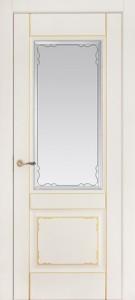 Межкомнатная дверь Геона Мадрид, эмаль слоновая кость, патина золото, стекло сатинат гравировка фацет