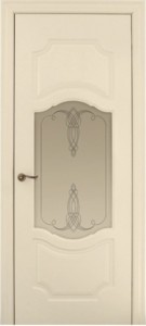 Межкомнатная дверь Геона Марсель, эмаль ваниль, стекло сатинат гравировка