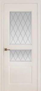 Межкомнатная дверь Геона Монако, эмаль слоновая кость, стекло сатинат гравировка фацет