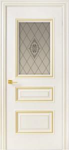 Межкомнатная дверь Геона Прованс, эмаль крем, патина золото, стекло сатинат гравировка витраж