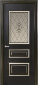 Межкомнатная дверь Геона Прованс, эмаль чёрный янтарь, патина серебро, стекло сатин гравировка витраж