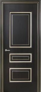 Межкомнатная дверь Геона Прованс, эмаль чёрный янтарь, патина шампань