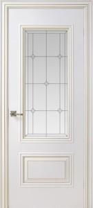 Межкомнатная дверь Геона Ришелье, эмаль белая, патина золото, стекло сатин гравировка бевелсы