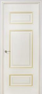 Межкомнатная дверь Геона Франческо, эмаль крем, патина золото
