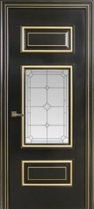 Межкомнатная дверь Геона Франческо, эмаль чёрный жемчуг, патина золото, стекло сатин гравировка бевелс