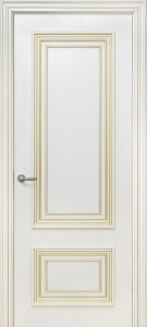 Межкомнатна дверь Геона Корсо 2, эмаль крем, золотая патина