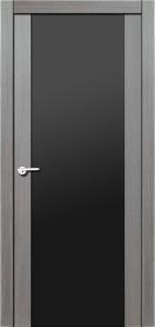 Дверь межкомнатная Орион, экошпон амарант серый, стекло триплекс чёрное