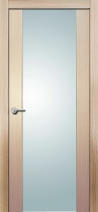 Дверь межкомнатная Орион, экошпон самшит белый, стекло триплекс белое