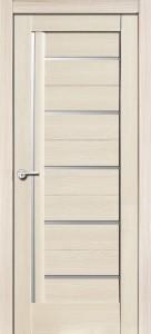 Межкомнатная дверь Дана, экошпон кремовая лиственница, стекло матовое