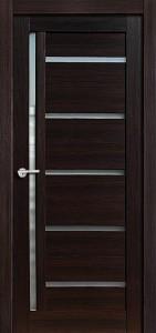 Межкомнатная дверь Дана, экошпон чёрный бархат, стекло матовое