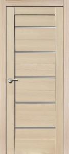 Межкомнатная дверь Модерн, экошпон самшит белый, стекло матовое