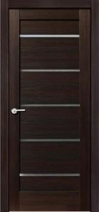 Межкомнатная дверь Модерн, экошпон чёрный бархат, стекло матовое