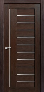 Межкомнатная дверь Палермо, экошпон чёрный бархат, стекло матовое