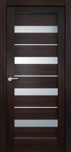 Межкомнатная дверь Сатурн, экошпон чёрный бархат, стекло матовое