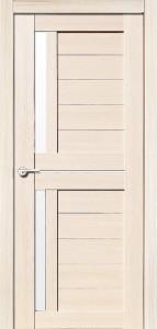 Межкомнатная дверь Соренто, экошпон кремовая лиственница, стекло матовое