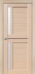 Межкомнатная дверь Соренто, экошпон самшит белый, стекло матовое