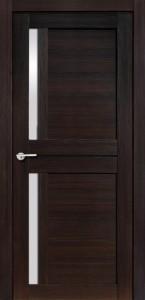 Межкомнатная дверь Соренто, экошпон чёрный бархат, стекло матовое