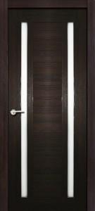 Межкомнатная дверь Стелла, экошпон чёрный бархат, стекло матовое
