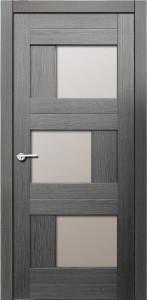 Межкомнатная дверь Эмилия, экошпон амарант серый, стекло матовое