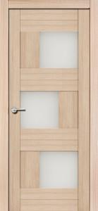 Межкомнатная дверь Эмилия, экошпон самшит белый, стекло матовое